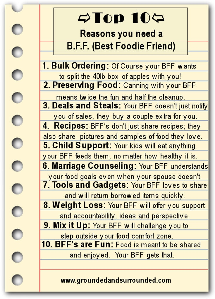 Top 10 Reasons You Need A Bff Best Foodie Friend Grounded Surrounded