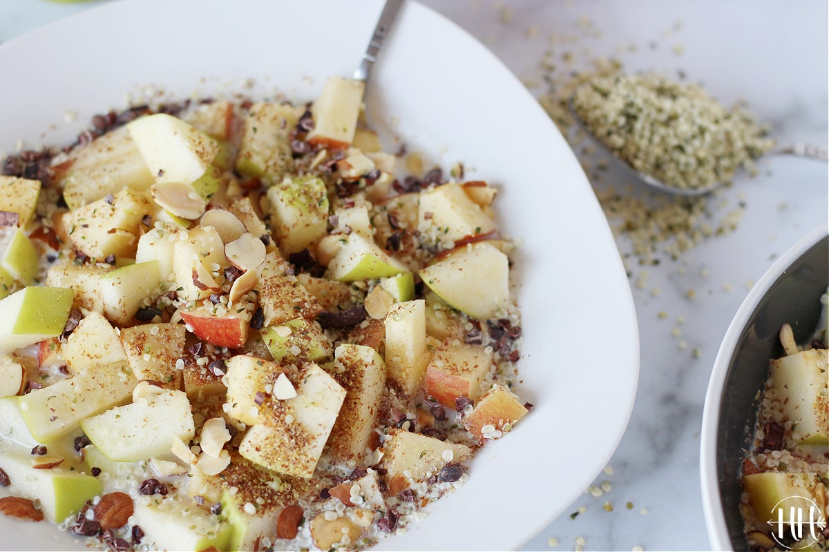 Pink Lady and Granny Smith apples cut up and used in a healthy homemade cereal recipe.