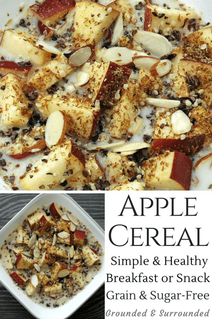 This clean-eating little gem is perfect for breakfast, dessert, or a snack. You literally feel like you are eating cereal with the crunchy apples and seeds but it is completely healthy and flavorful! Use whatever nuts, seeds, or milk that you have on hand but be sure to measure so you don't over-indulge in the seeds or nuts. Grain-Free, Sugar-Free, & Paleo friendly. Find more recipes like this at http://www.groundedandsurrounded.com/recipe/apple-cereal/