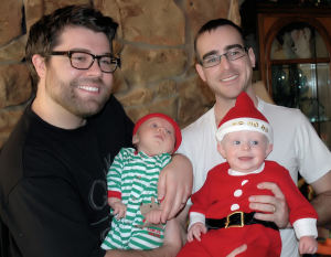 Nick and Donny christmas with babies