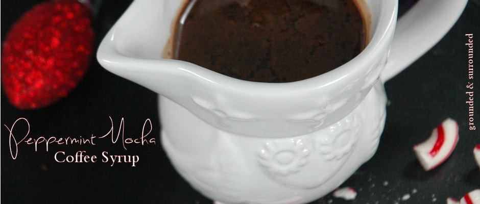 Peppermint Mocha Coffee Syrup in a small white pouring vessel.
