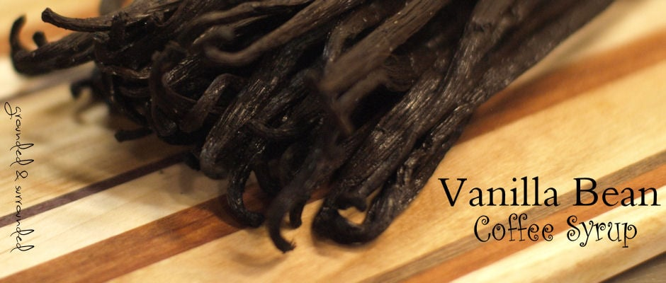 Vanilla Beans on a cutting board to be used in Holiday Coffee Syrups.