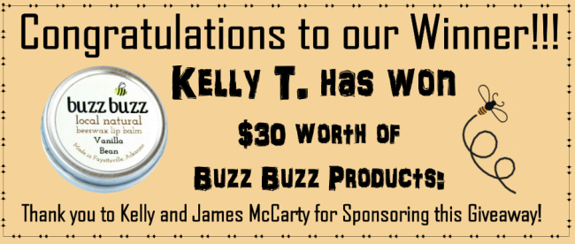 Winner of the buzz buzz giveaway