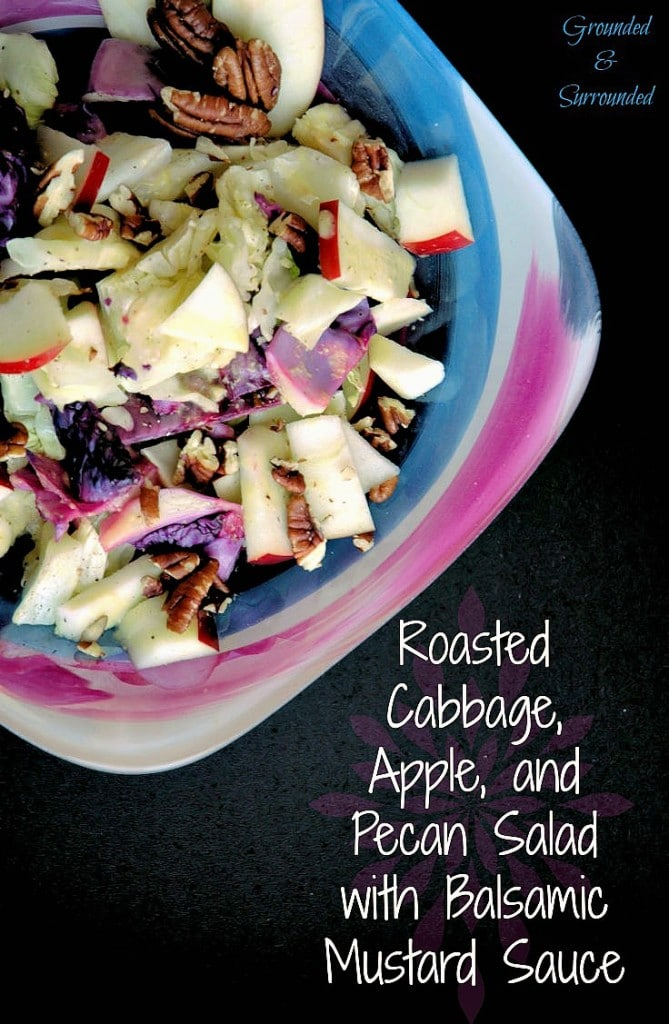 """This warm, healthy, and colorful salad is simple to make and full of flavor! It is low calorie and pairs perfectly with any protein and will turn everyone at the table into a cabbage lover! The apples and pecans are just the """"icing on the cake""""! http://www.groundedandsurrounded.com/recipe/roasted-cabbage-apple-pecan-salad/"""