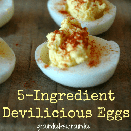 There is just something about a deviled egg, isn't there? I love how frugal and simple this recipe is, it has truly become a go-to for me when I am asked to bring party food. It is healthy, gluten free, and packed with protein. Winner-Winner-Chicken-Dinner! http://www.groundedandsurrounded.com/recipe/5-ingredient-deviledeggs/