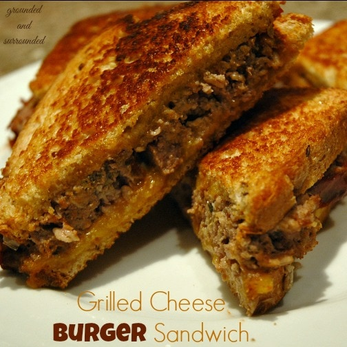 Grilled cheese burger sandwich using sliced bread, melted cheese, leftover meatloaf, and butter.