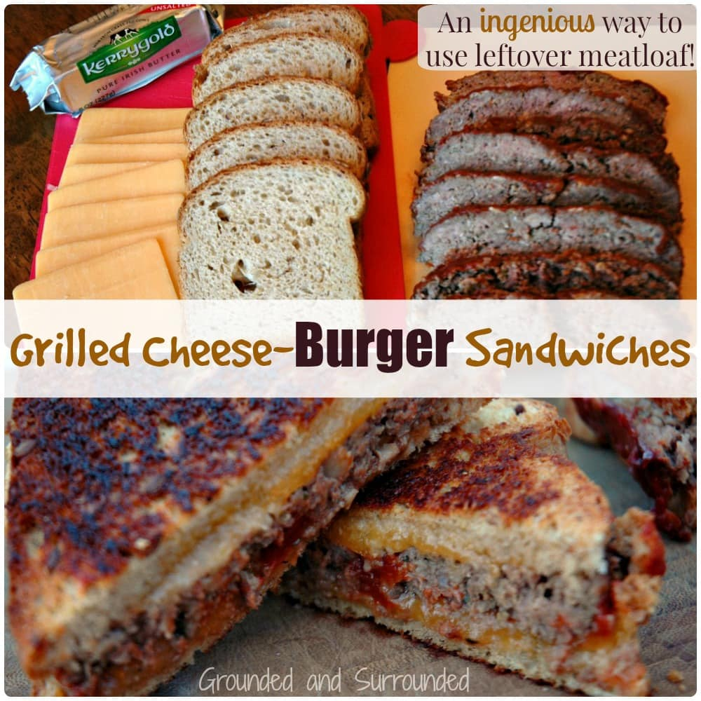 What do you do with leftover meatloaf? Want to roll it over into something completely new? Well we have the recipe for you! This moist, flavor-packed, and hearty meal will leave you speechless and wondering why you had never thought of this yourself! Is it grilled cheese? Is it a cheeseburger? Nope! It's even better! http://www.groundedandsurrounded.com/recipe/grilled-cheese-burger-sandwiches/