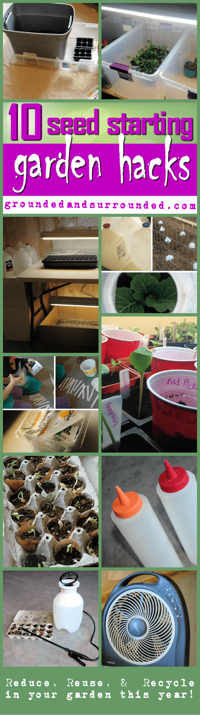 10 Seed Starting Garden Hacks you can do indoors during the months on the calendar that are freezing! These tips and ideas will help you DIY or with your kids. Kids love to get their hands dirty! All you need are some containers, mix, lights, and some recycled goods! Vegetables and flowers here we come...in a few months!