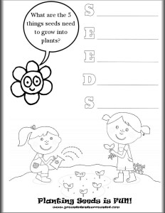 SEEDS printable image | Are you going to invite your children to start seeds with you indoors this season? This article includes a free worksheet, video tutorial, and ideas and tips for seed starting success. You will be amazed at how much fun your children have playing in the dirt with you! Kids love DIY projects just as much as adults so give them some soil and containers and let them get their hands dirty!