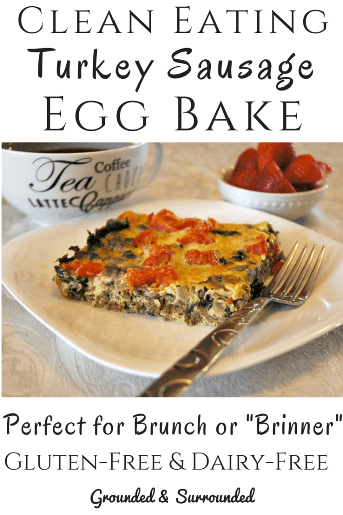Healthy and clean eating breakfast dishes ROCK! Not only is this dish filling, but it is gluten-free and SO flavorful! Don't let the simple ingredients fool you, it is delicious. You can prepare this easy casserole the night before and let it hang out in the fridge until morning or bake it right away. Cut it into 6 huge portions to eat for breakfast all week or 9-12 slices to feed a crowd at brunch. http://www.groundedandsurrounded.com/recipe/clean-eating-turkey-sausage-egg-bake/