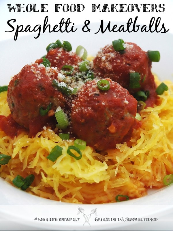 This Whole Food Makeover: Spaghetti and Meatballs is just what you need if you are eating a low carb or gluten free diet. Our clean eating recipe uses ground turkey or beef and a store bought marinara sauce. You can use whole wheat pasta or spaghetti squash or a mix of the two. Our makeovers are for families who want dinners and meals that are packed with as many whole foods as possible!