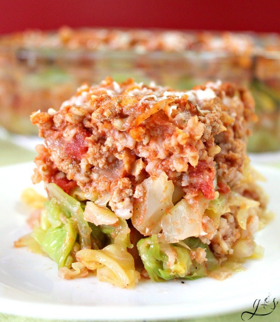 Fake Out Lasagna made with cabbage instead of noodles. The perfect whole food family recipe!