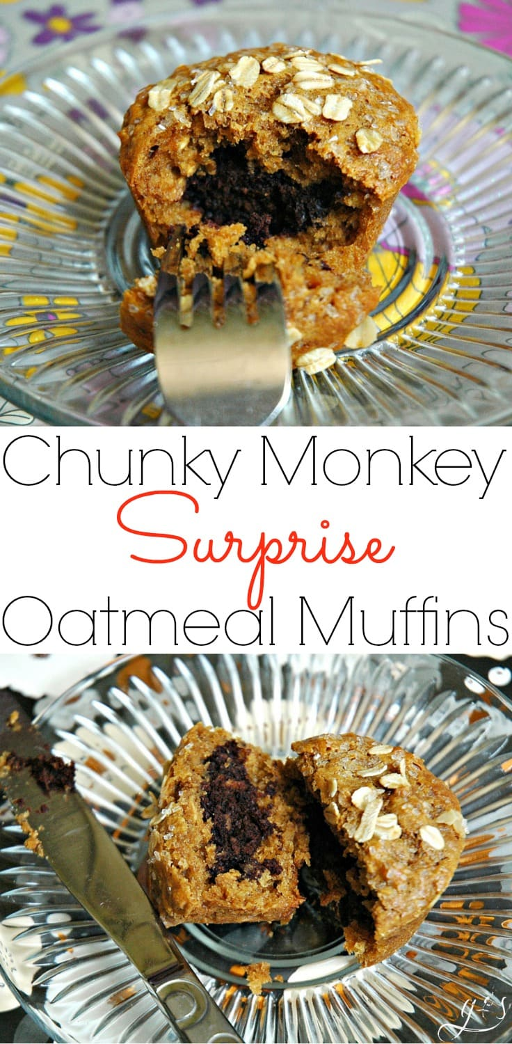 "These easy Chunky Monkey Muffins have a surprise twist! Not only does this healthy breakfast recipe contain bananas, peanut butter (or PB2), and oatmeal...but a surprise chocolate center! If you want to ""WOW"" your friends and family with a new recipe this is it! It's a fun idea for kids after school snacks too! These also contain simple and nourishing ingredients such as coconut oil, coconut sugar, and oats!"