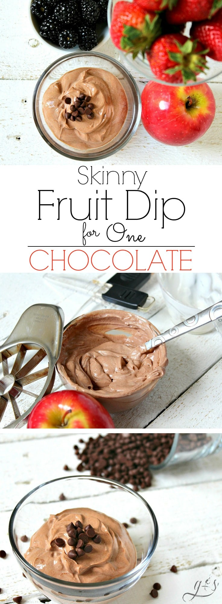 The BEST Skinny Chocolate Fruit Dip for One   A healthy, high protein dip recipe made with plain Greek yogurt and other clean eating ingredients! This easy and low carb chocolate dip will quickly become your favorite snack! It's perfect for dipping fruit like apples or strawberries.