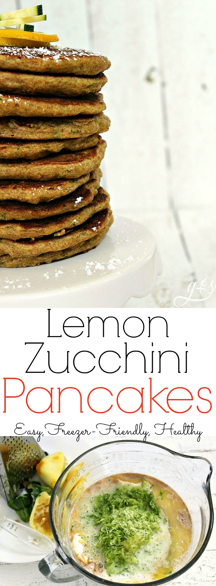 The Best Lemon Zucchini Pancakes   This delicious recipe is perfect for an easy school day breakfast for the kids. These simple from scratch flapjacks are just what you need to make your morning easy. Try freezing half the batch of these healthy, homemade, & whole wheat pancakes to eat later. The combination of healthy zucchini and fresh lemon create a sweet and easy pancake perfect for any family meal!