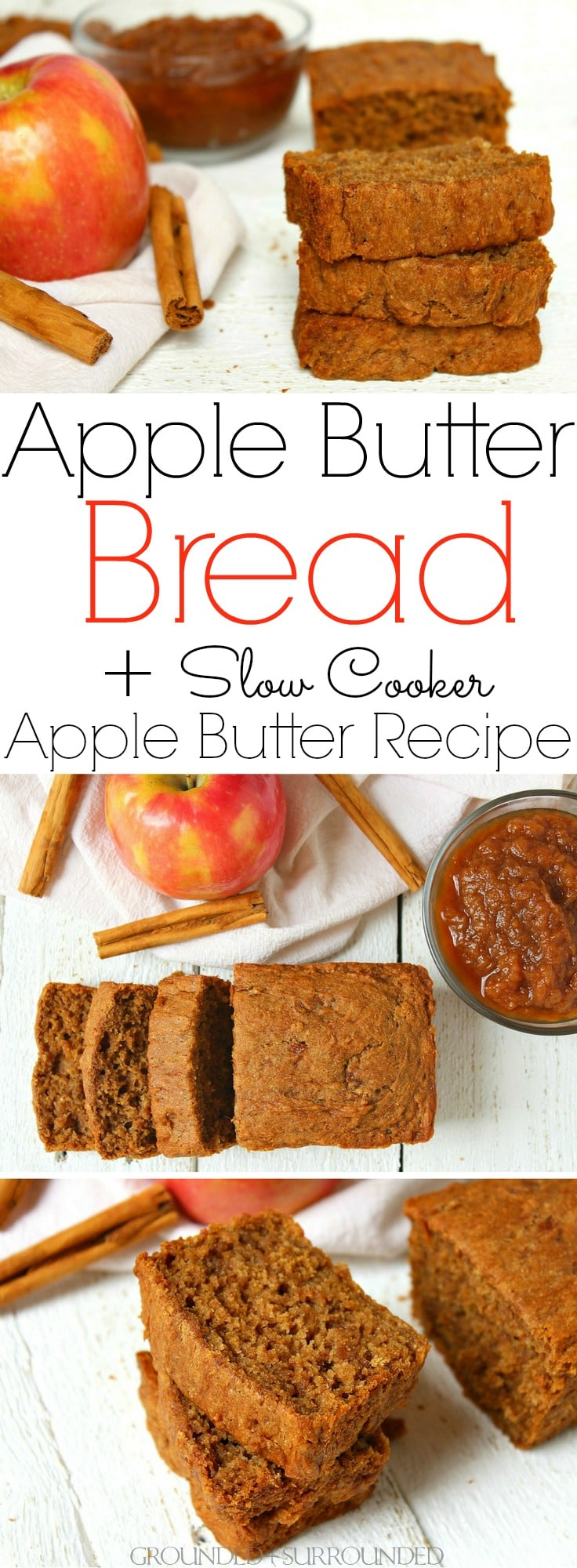 The BEST Apple Butter Bread + Slow Cooker Apple Butter Recipe | This gluten-free sweet bread is our favorite fall breakfast recipe! If you are looking for an easy sweet bread recipe to make the most of autumn flavors make this healthy crock pot apple butter AND then bake this bread! Baking when the weather turns crisp is my favorite activity. This batter makes a wonderful muffin to pack in school lunches and to freeze for those busy mornings too!