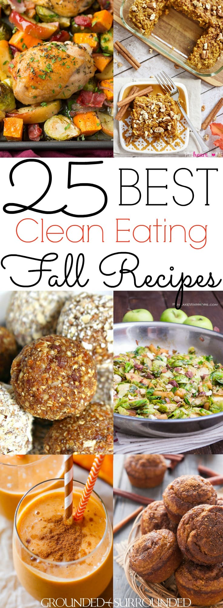 The 25 BEST Clean Eating Fall Recipes | Autumn is my favorite season to cook healthy and easy meals. You will find delicious breakfast, dinner, lunch, dessert and snack ideas. Not to mention soup, stew and drinks that use pumpkin, apple, brussels sprouts and squash recipes to satisify your need for classic, comforting and cozy flavors! Most are gluten free / Paleo / low carb / dairy free, but vegetarian and vegan substitutions can be made too.