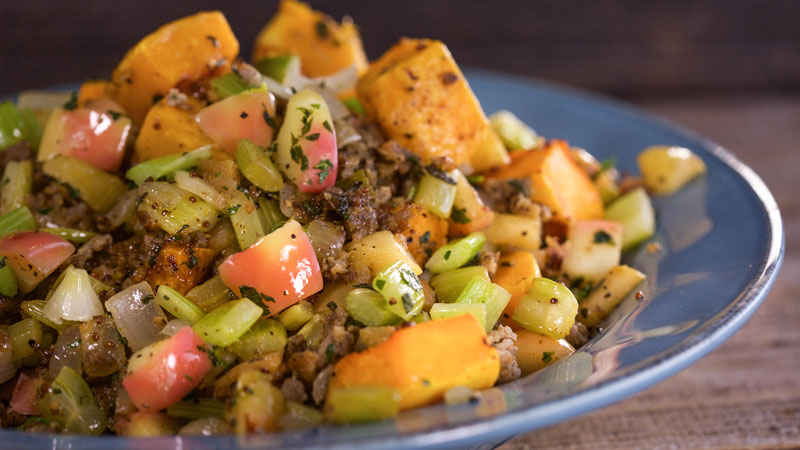A plate full of Breadless Butternut Stuffing from Rachael Ray.