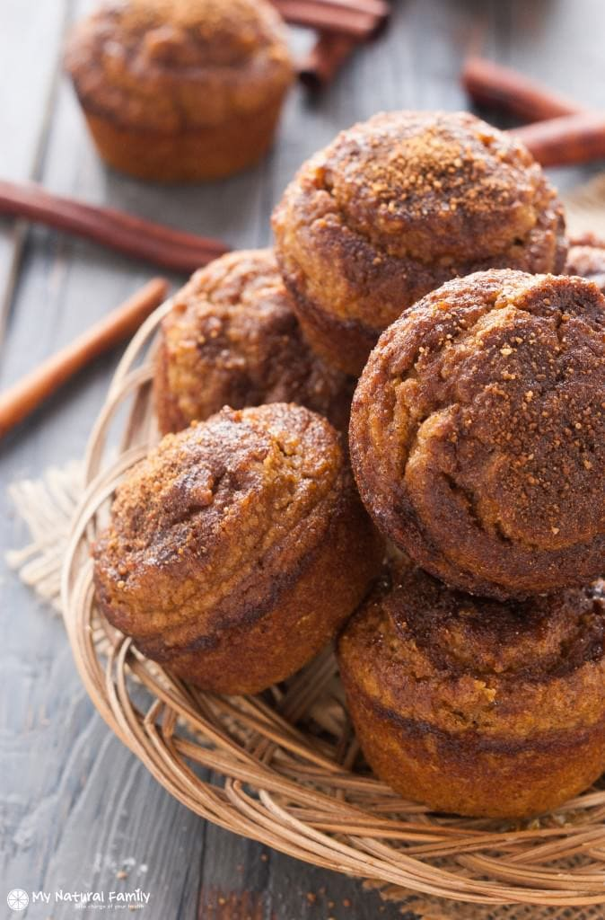 A stack of golden brown Paleo Pumpkin Muffins from My Natural Family to use for fall recipes.