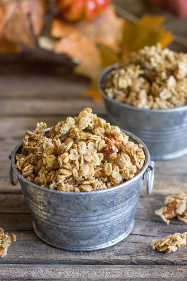 Pumpkin Pie Spiced Coconut Oil Granola from Lovely Little Kitchen in cute tin pails.