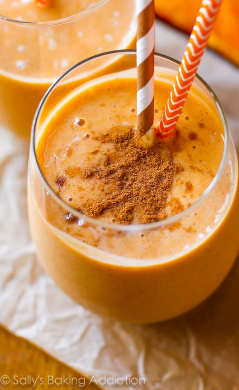 Bright and beautiful golden orange Skinny Pumpkin Frappuccino from Sally's Baking Addiction.
