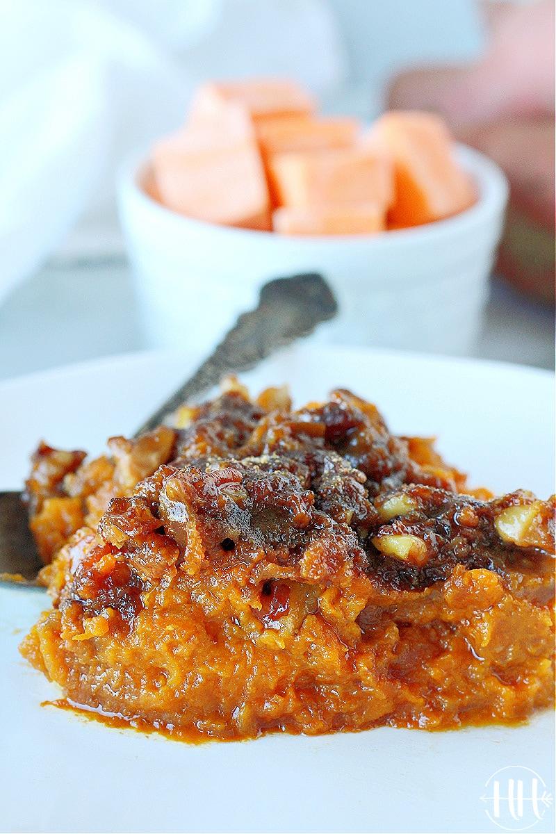 Beautiful plate of gluten free slow cooker sweet potato bake.