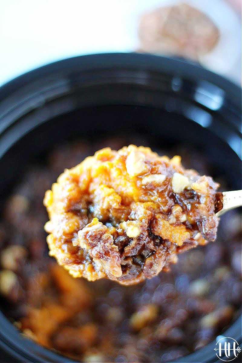 A spoonful of sweet potato puree with pecans and coconut sugar on top.