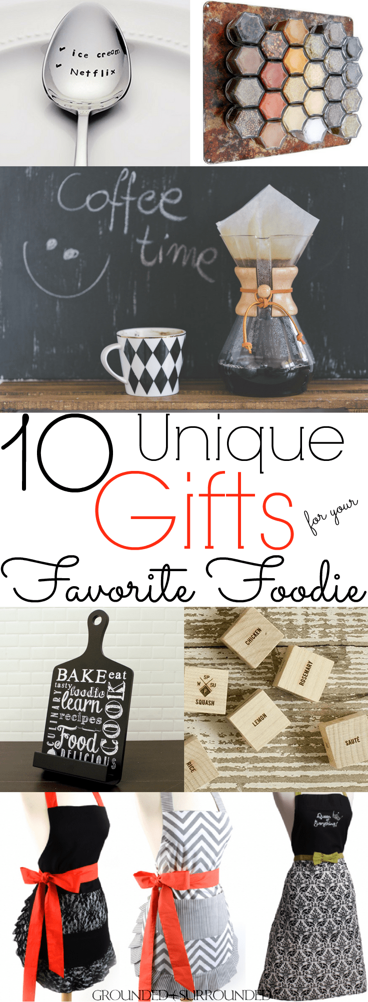 10 Unique Gift Ideas for Your Favorite Foodie | This list of food themed gift ideas is too cute for words. Whether you need a Christmas or birthday gift for your best friend or mom these ideas are for you. These creative and fun ideas are perfect for any cook in your life. The holidays are made for food loving people and these simple products will be awesome under the tree!