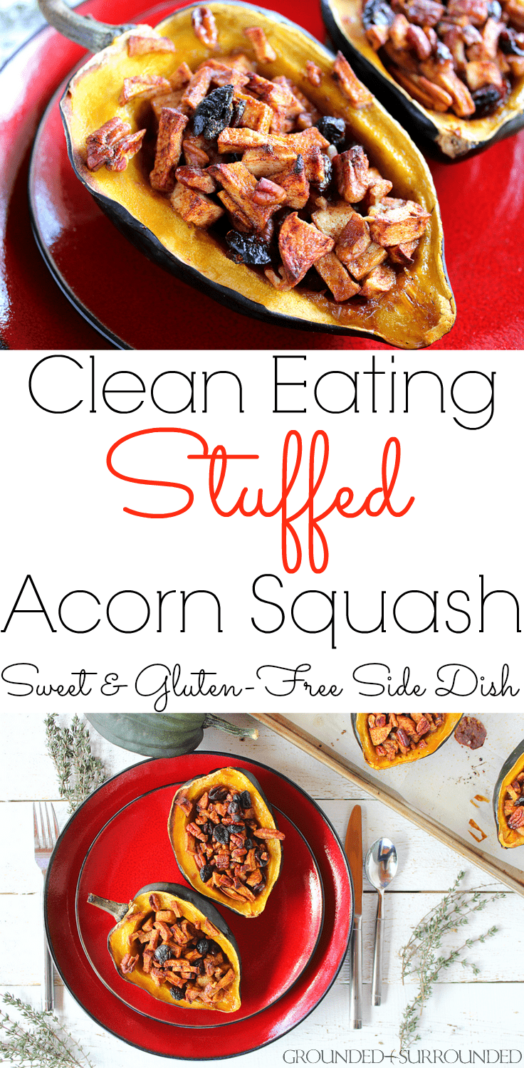 The BEST Clean Eating Stuffed Acorn Squash | This low carb and easy baked recipe will quickly become your favorite healthy holiday side dish, especially for Thanksgiving and Christmas! Gluten free ingredients like sweet apples, pecans, dried cranberries, butter and maple syrup make up this roasted Paleo, Whole30, and vegetarian recipe. This is a simple accompaniment to sausage, turkey, ham, chicken, or beef.