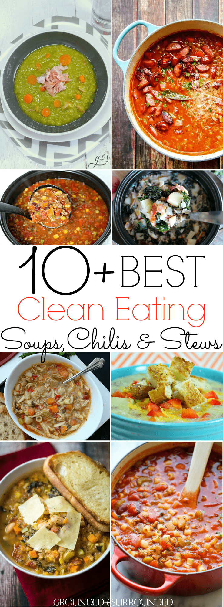 The 10+ BEST Clean Eating Soup, Chili & Stew Recipes | These healthy and quick one-pot meals are perfect for lunch or dinner! Hearty taco {crockpot}, easy minestrone, and low carb cheeseburger soups will tantalize your tastebuds. Whether you want chicken, beef, or ground turkey these are for you or maybe you want to keep it vegetarian (vegan) with lentils and vegetables. Most are gluten free, dairy free, Paleo, and 21 Day Fix and Weight Watchers diet friendly.