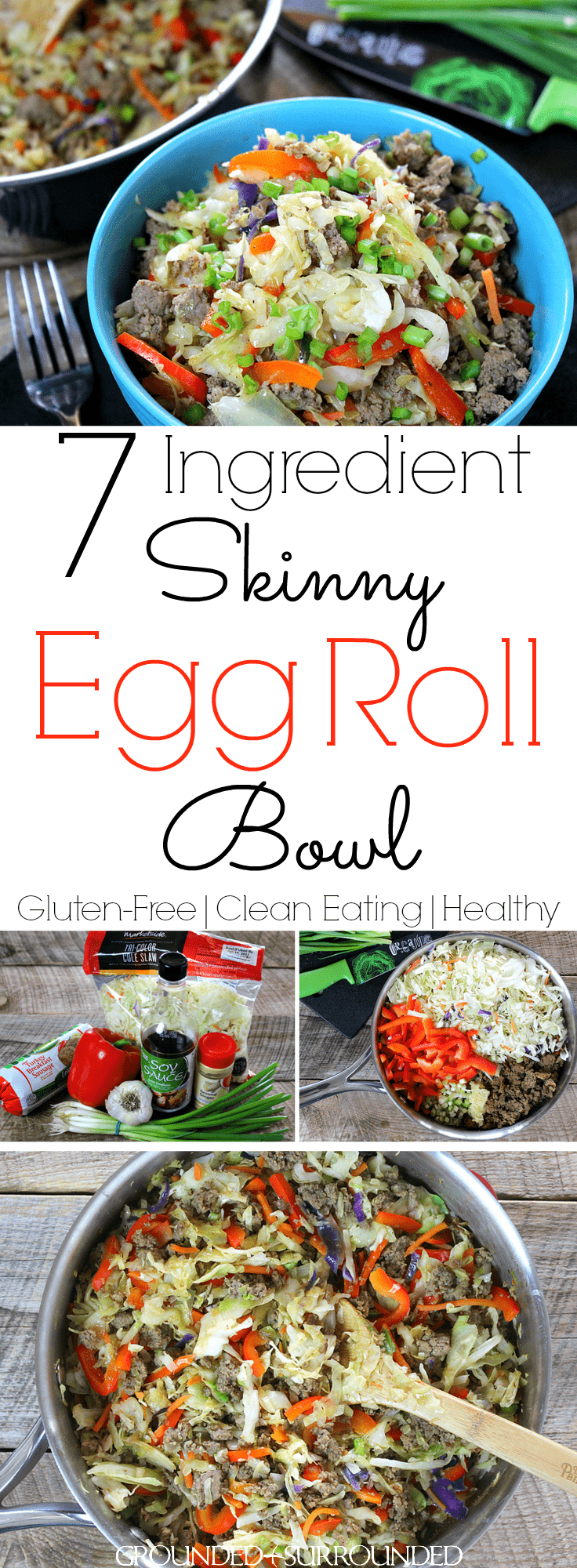 7 Ingredient Skinny Egg Roll Bowl | Chinese food in a bowl is always a winner, but easy and healthy Chinese recipes are even better. This clean eating, vegetable packed, turkey sausage (or pork) eggroll combination is sure to cure any takeout cravings you have. Whether you are following Whole 30, low carb, Weight Watchers, 21 Day Fix, Paleo, or Thm (Trim Healthy Mama), you will love the newest gluten free recipe on the block!