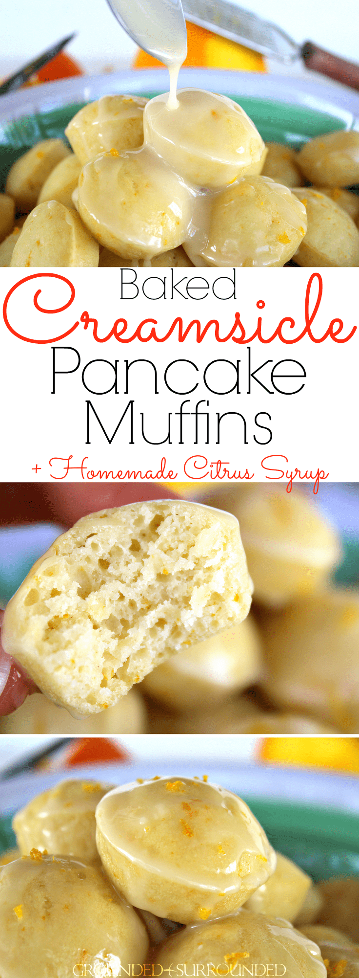 The BEST Baked Creamsicle Mini Pancake Muffins | This easy and from scratch recipe is perfect for breakfast or brunch! Healthy whole wheat flour batter and 3 ingredient fresh orange syrup will brighten your day. These homemade fluffy bites are easy for kids or toddlers to eat with syrup. Just add an egg for protein! Freezer friendly and easily adaptable to be gluten-free too.