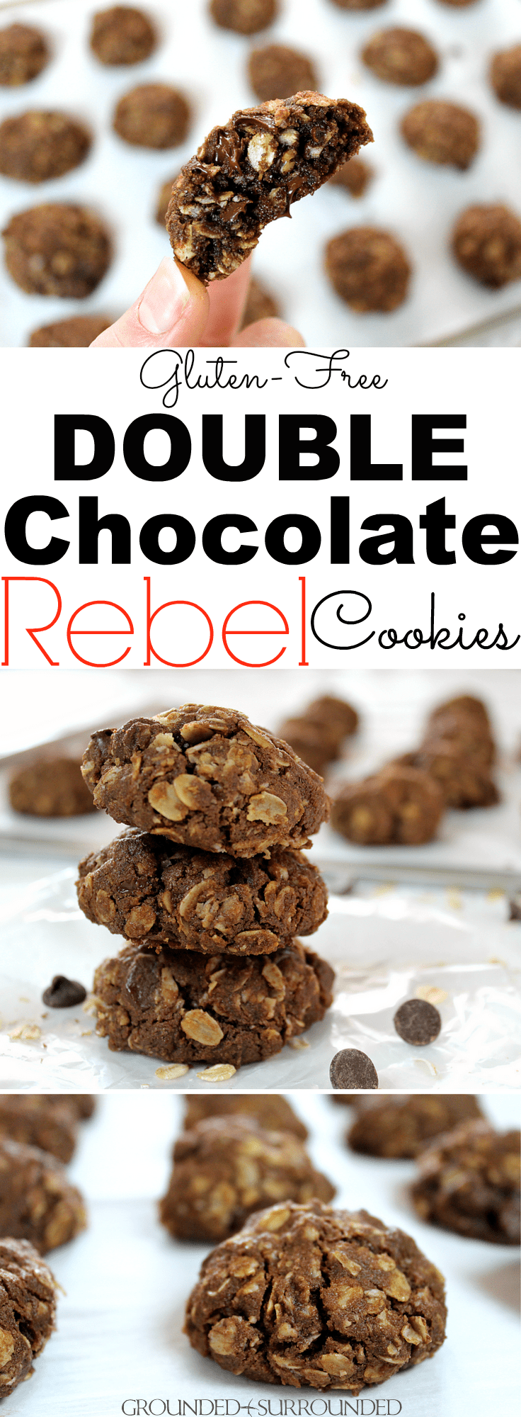 The BEST Gluten Free Double Chocolate REBEL Cookies | This is my husband's favorite cookie recipe! These cookies are easy to prepare, soft and chewy in the center, and absolutely delicious. Use semi-sweet, dark, or white chocolate chips for a truly special treat. Hot out of the oven these cocoa and oatmeal cookies are fudgy and sweet, but not too sweet! Just sweet enough that you can't resist going back for 2nds & 3rds of this simple snack!