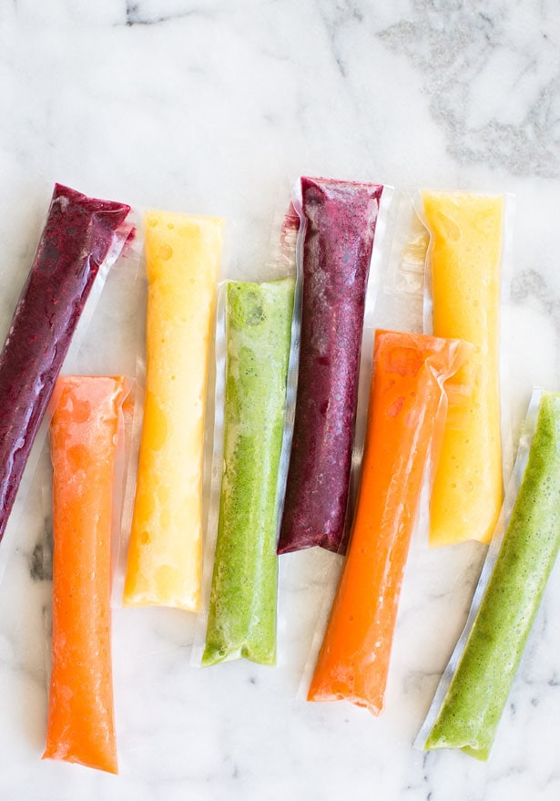 Homemade fruit and vegetable popsicles for fun summer treats.