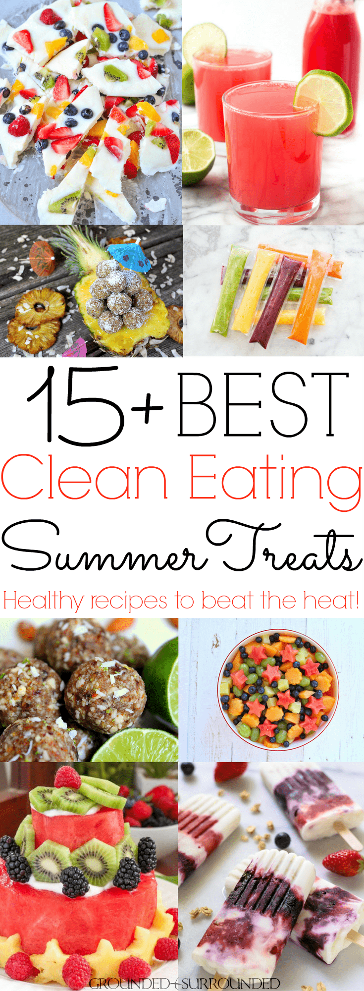 The BEST Clean Eating Summer Treats | What's on your bucket list this summer? Food? Me too! I love new healthy recipe ideas that beat the heat. Whether you are looking for a light dessert for a crowd, fun snacks, or something sweet for kids I got you covered. These cool, gluten-free, & low carb recipes are easily adaptable to Paleo, Whole30, 21 Day Fix, and just plain delicious! Popsicles (fudgesicles!), frozen yogurt (protein!), watermelon drinks, easy cakes, you name it!