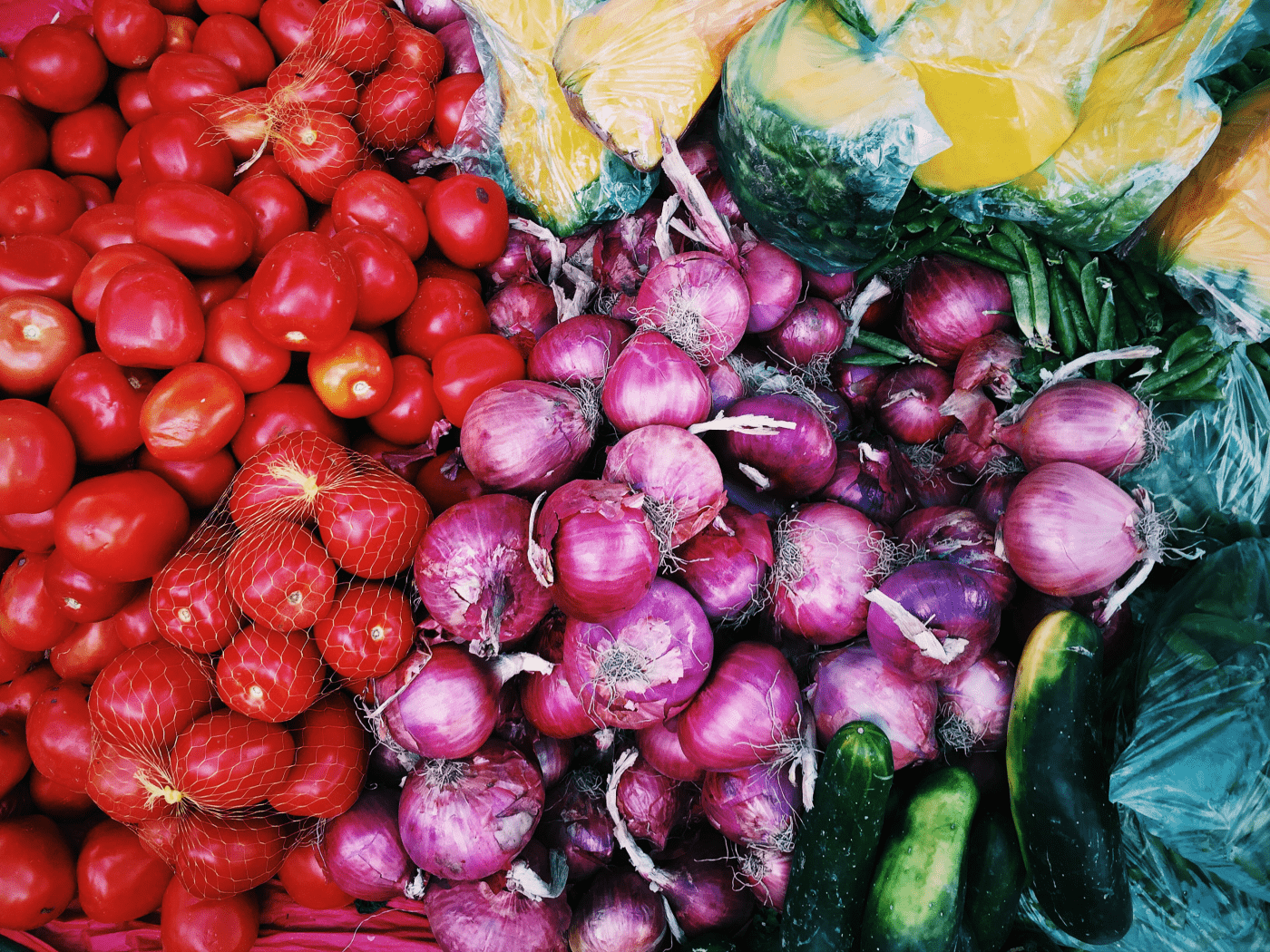 Colorful vegetables to help you learn how to eat more whole foods.