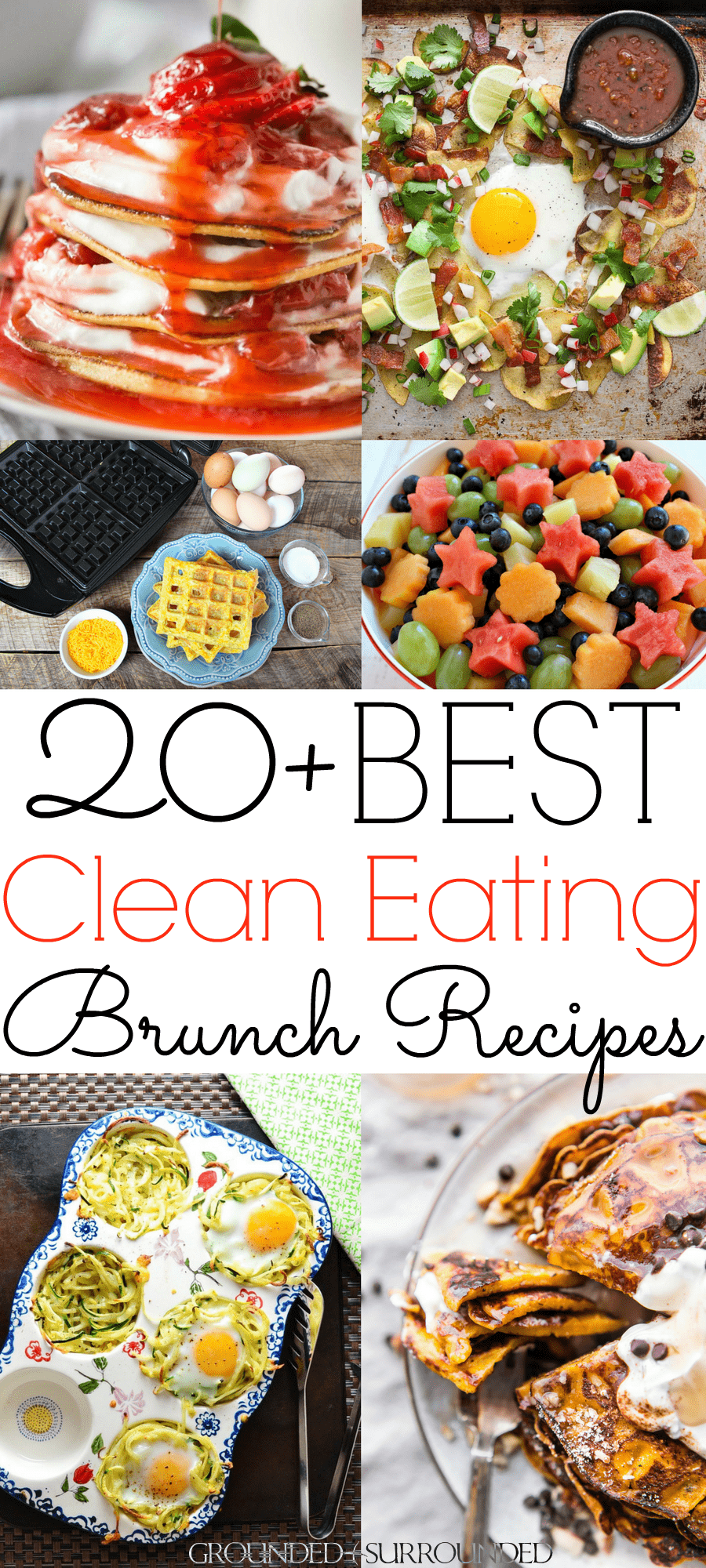 "The 20+ BEST Clean Eating Brunch Recipes | These healthy and gluten-free ideas will have you begging for seconds! This food menu has make ahead dishes, casseroles, waffles, pancakes, eggs, fruit salads, spinach salads, and easy ""clean"" bread recipes. Whether you are throwing a party or serving your family these Sunday morning low carb breakfasts are just the ticket to leave your tummy happy all day. Mothers Day 