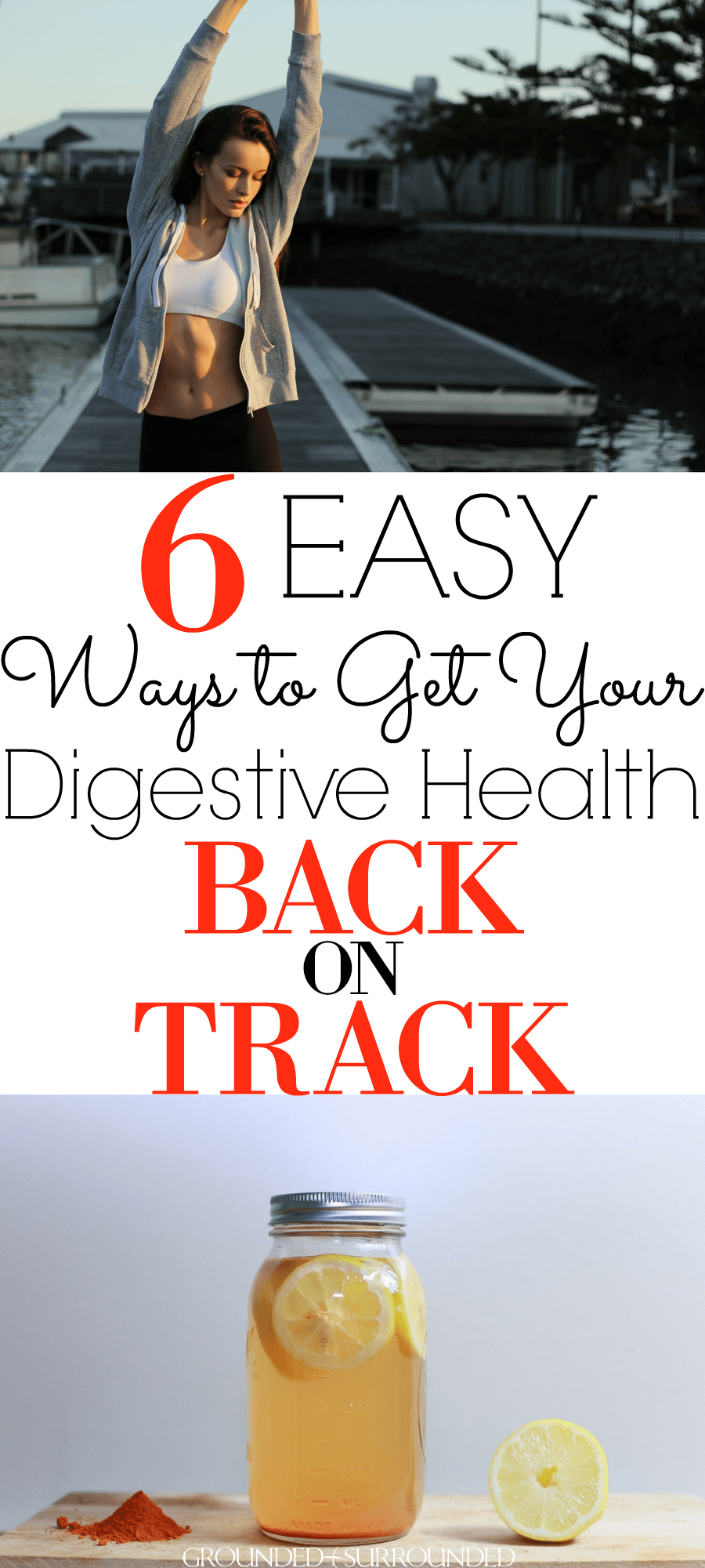 6 Easy Ways to Get Your Digestive Health Back on Track   How you feeling? Blah? Tummy problems? Want to improve how you feel with a few simple natural remedies? If you suffer with constipation, leaky gut, gas, *gasp* poop issues, or any other signs of digestion issues you need to try these simple tips to improve your tummy troubles. Probiotics   Detox   Bloating   Cleanse   Supplements   Fiber   Water   Hydration