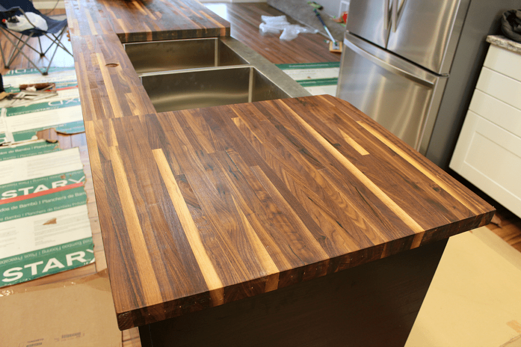 Butcher block from Lumber Liquidators.