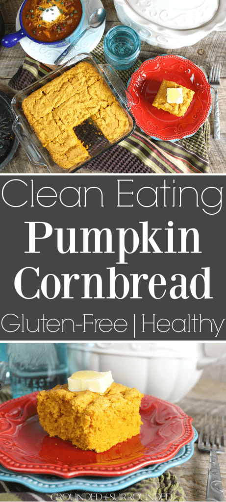 The BEST Gluten Free Pumpkin Cornbread | This easy and sweet clean eating recipe will make all your dreams come true this fall! Top this healthy side dish with butter, honey, or maple syrup. Serve alongside soup, chili, or stew for a comforting and skinny meal. You can easily make this batter into muffins too!