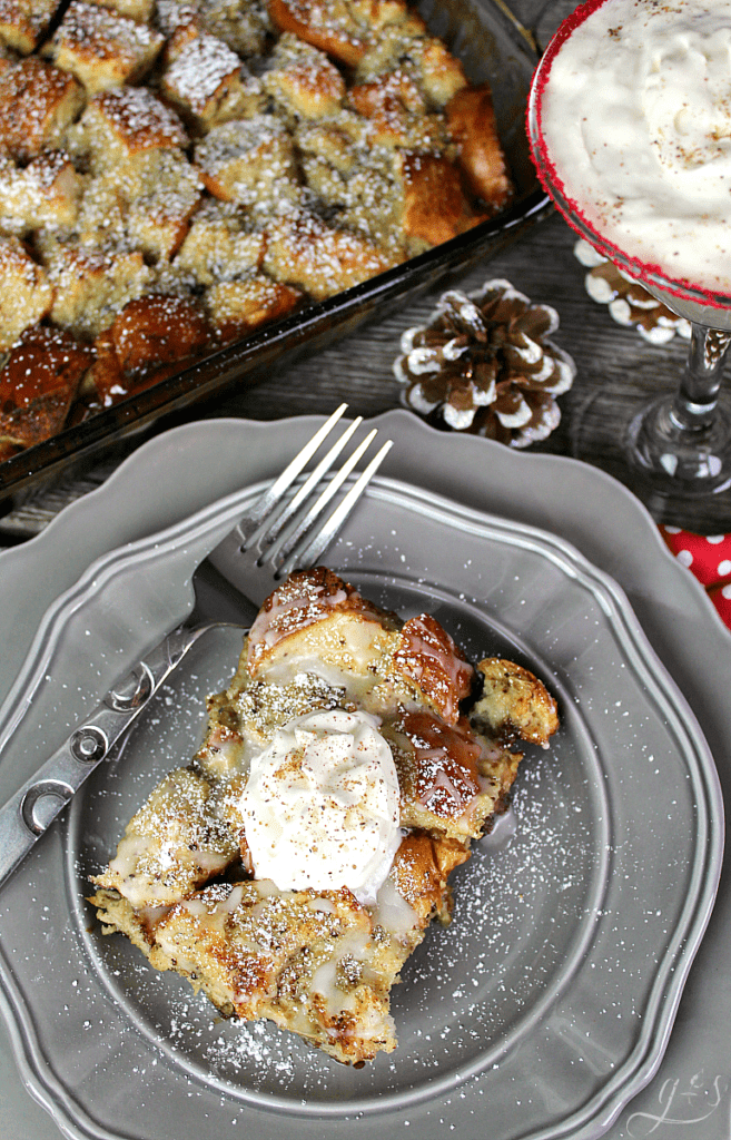 The BEST Eggnog French Toast Bake | This easy homemade recipe is Christmas in a pan. It is dairy free and can be made with the overnight option or 2 hour option. Finish it off with maple syrup, egg nog glaze, or whipped cream. Use french bread, eggs, cinnammon, nutmeg, and dairy-free eggnog to make the most delicious breakfast, brunch, or brinner this season. #holidays #families #casserole