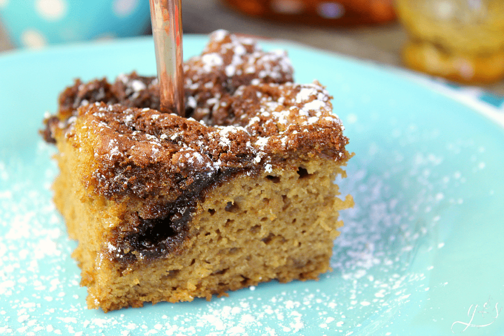 Piece of cowboy cake sprinkled with powder sugar on a light blue plate.