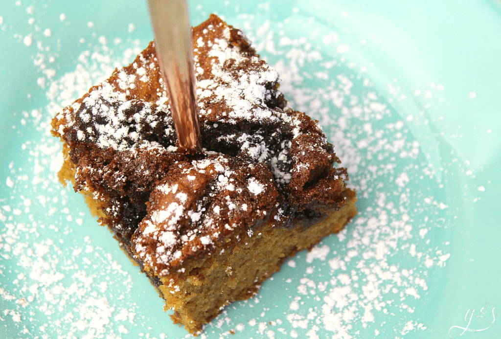 Up close and gorgeous photo of gluten-free cinnamon coffee cake with powdered sugar.