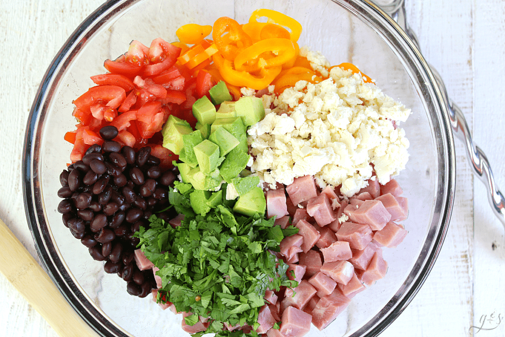 Gorgeous bowl of chopped fresh vegetables, ham, and black beans!