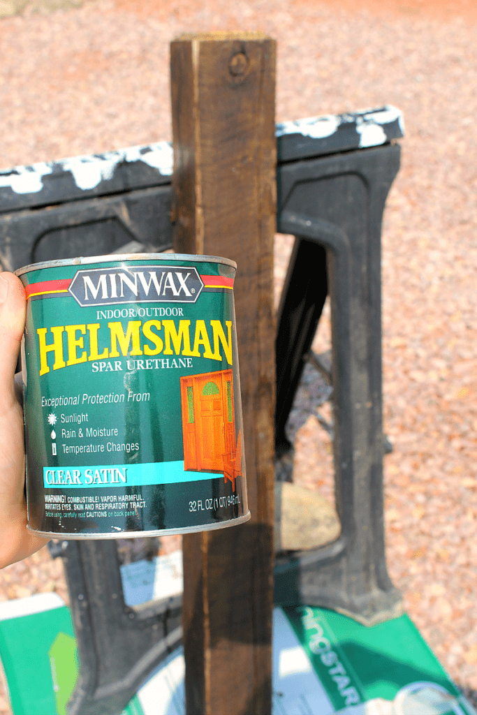 Helmsman Minwax clear satin for a reclaimed wooden banister post.