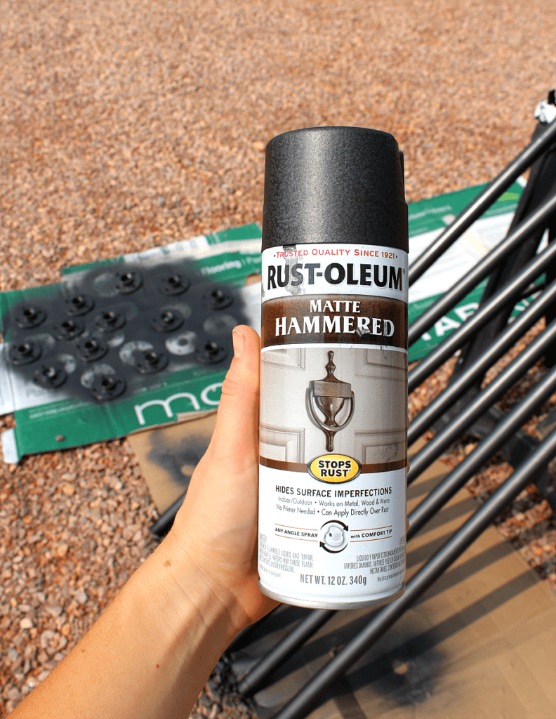Rustoleum hammered black matte black spray paint for steel banister.