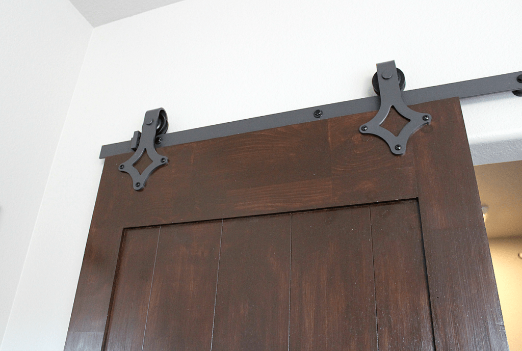 hardware for barn door on dark walnut door: DIY Painted Barn Doors