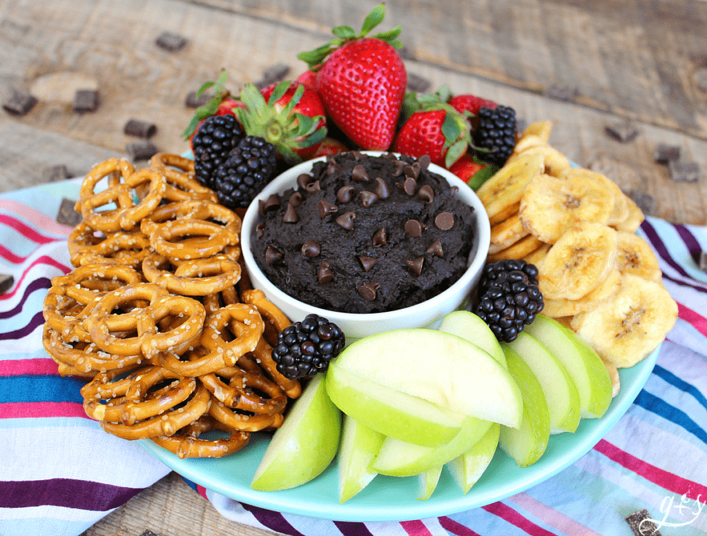 Dark chocolate dessert hummus in a bowl topped with chocolate chips surrounded by fruit and pretzels.