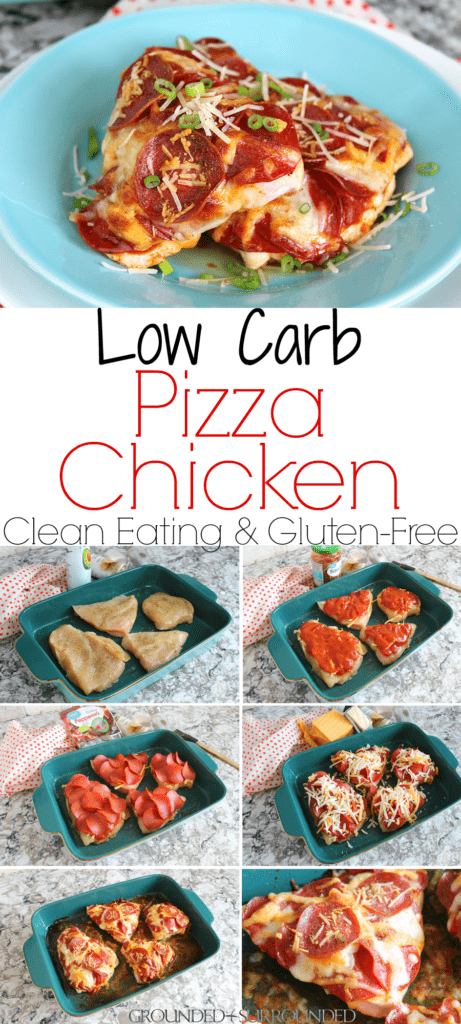 The BEST Low Carb Pizza Chicken | This clean eating pizza chicken bake is healthy and keto-friendly. Only gluten-free ingredients are used. Chicken breast, pizza sauce, mozzarella and cheddar cheese, turkey pepperoni and Italian seasoning are all you need to have a quick dinner on the table. This recipe feels like comfort food, but can help you on your weight loss journey. #healthy #recipes #cleaneating