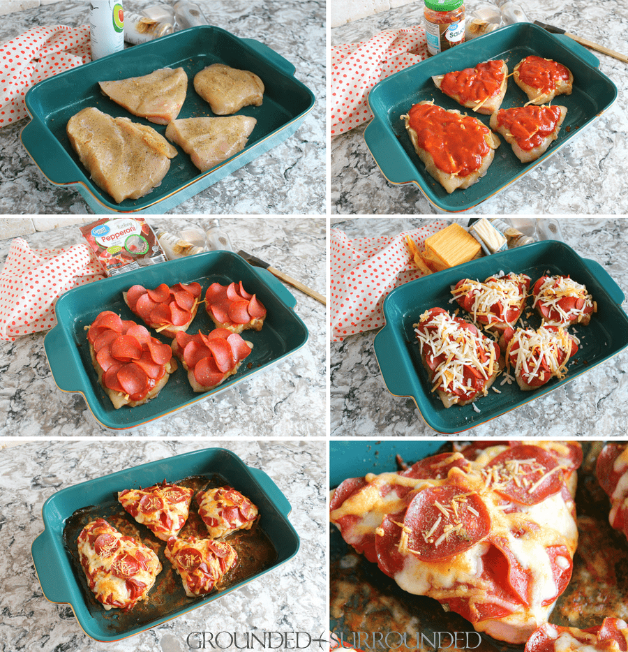 Step by step photos of a healthy chicken pizza recipe that is also gluten free!